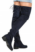 Темно синие высокие сапоги , ботфорты  размеры 36-40, фото 1