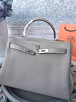 Женская сумка Гермес келли 32 см серая (реплика), фото 1
