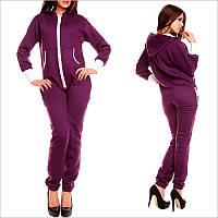 Теплый женский комбинезон - фиолетового цвета, смежной карманчик, застежка - молния