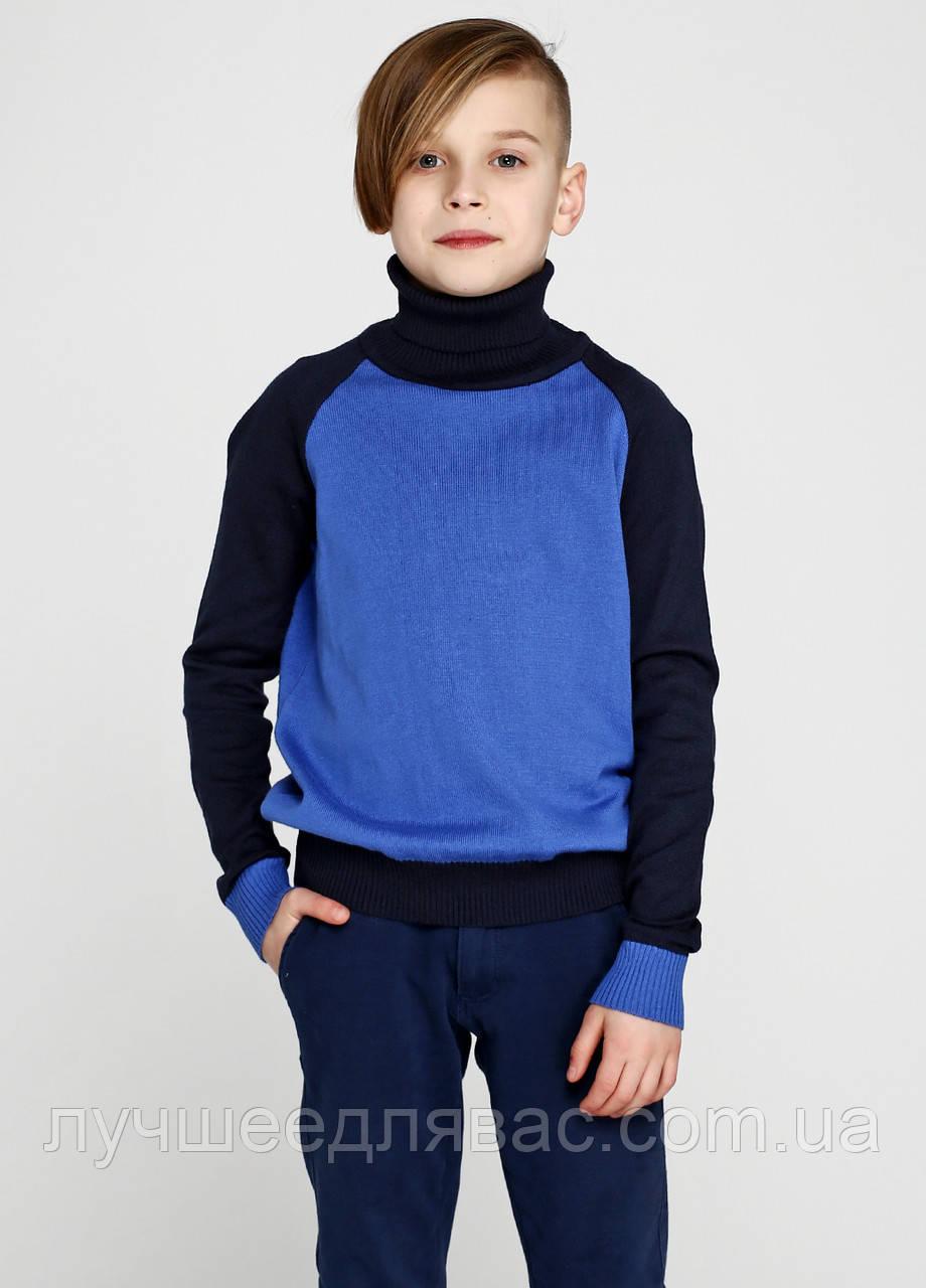 Гольф для мальчика синий с черными рукавами, фото 1