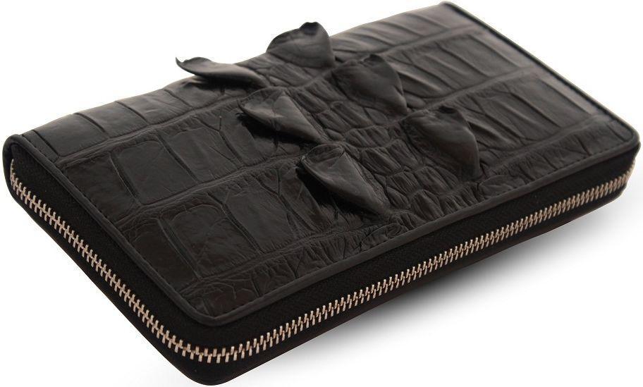 0d89d9fc4858 Кошелек-клатч CROCODILE из натуральной кожи крокодила, Черный -