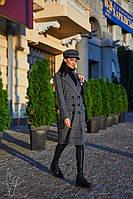Клетчатое женское пальто двубортное 60PA128, фото 1