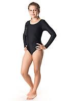 Чёрный гимнастический эластиковый купальник, фото 1
