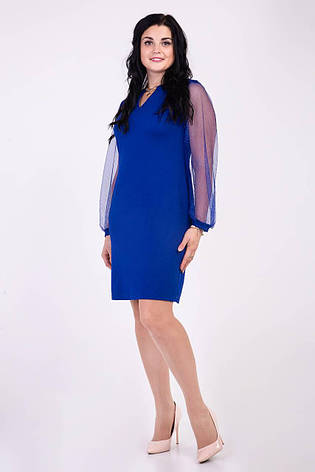 Оригинальное платье синего цвета украшенное кулоном, фото 2