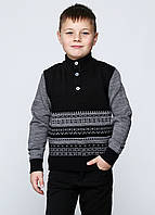 Свитер для мальчика черный с серым, фото 1