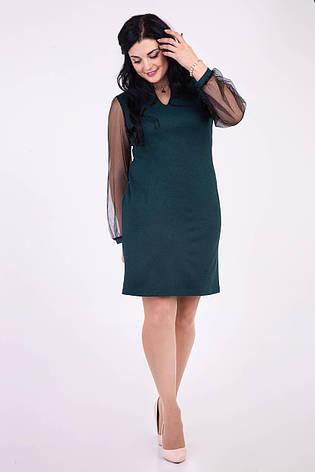 Оригинальное платье бутылочного цвета украшенное кулоном, фото 2