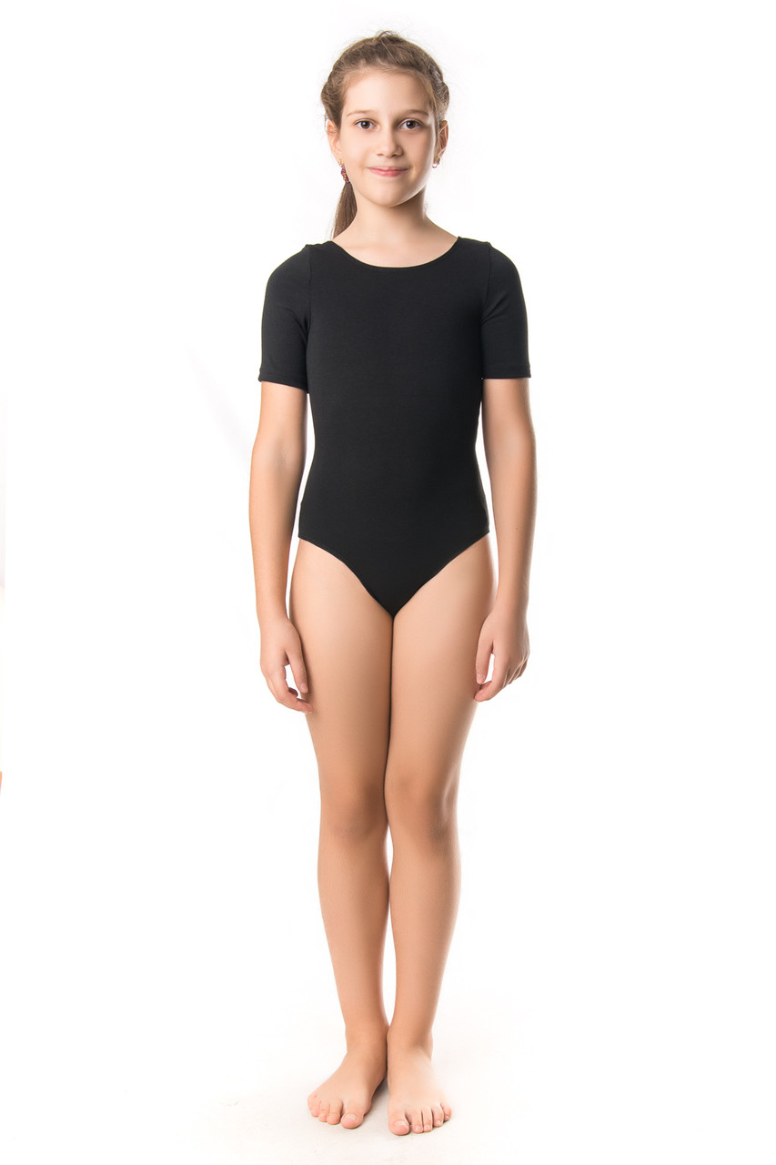 Гимнастический купальник с коротким рукавом трикотажный