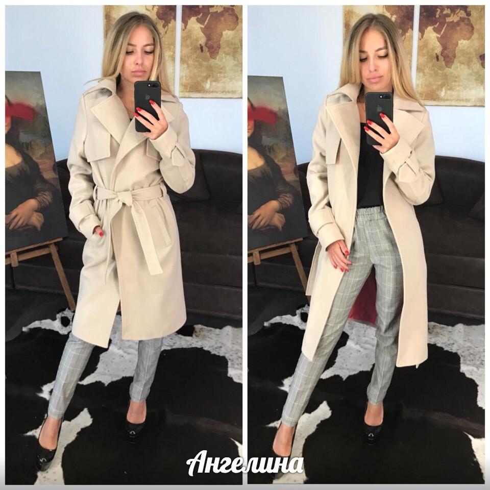 Женское кашемировое Пальто на запах под пояс 37pt127