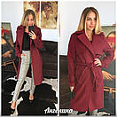 Женское кашемировое Пальто на запах под пояс 37pt127, фото 4