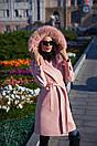 Кашемировое женское Пальто с мехом на капюшоне 60pt130, фото 2