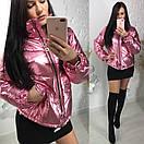 Демисезонная металлизированная куртка на молнии 58kr136, фото 3