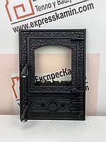 """Дверцы печные со стеклом """"BASTION"""" 370х510 Чугунные дверцы для печи кухни барбекю"""
