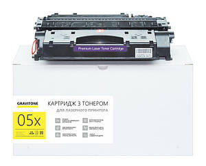 HP 05x картридж совместимый, аналог ce505x, чёрный, увеличенная ёмкость (6.400 копий) Gravitone