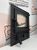 """Дверцы печные со стеклом """"BASTION"""" средний 460х510 Чугунные дверцы для печи кухни барбекю , фото 3"""