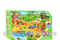 Детский конструктор Счастливый зоопарк 72 крупные детали с фигурками зверей