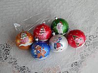 Новогодние игрушки шары со свинкой 6см разноцветные