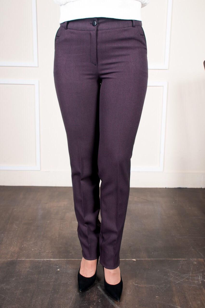 Деловые женские брюки в клетку Жозефина бордо