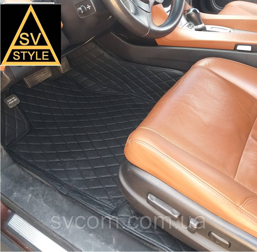 Коврики на Range Rover Sport Кожаные - 3D (2005-2013) Чёрные