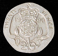 Монета Великобритании 20 пенни 1990 г., фото 1