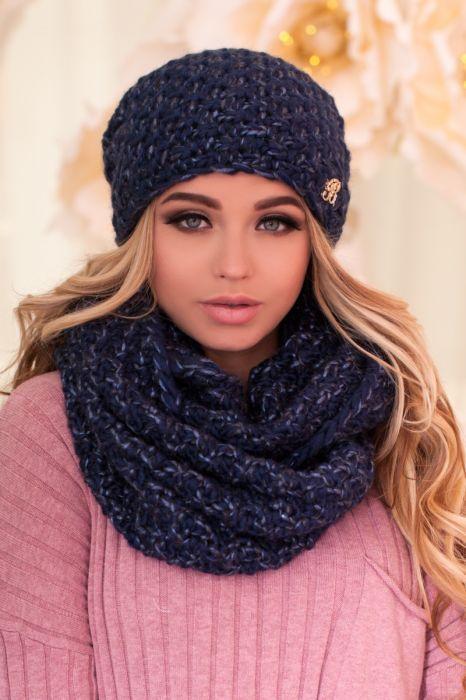 Зимний женский комплект «Маранда» (шапка и шарф-снуд) Джинсовый + синий