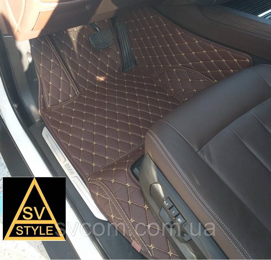 Коврики на Range Rover Sport Кожаные 3D (2005-2013) Кофейные