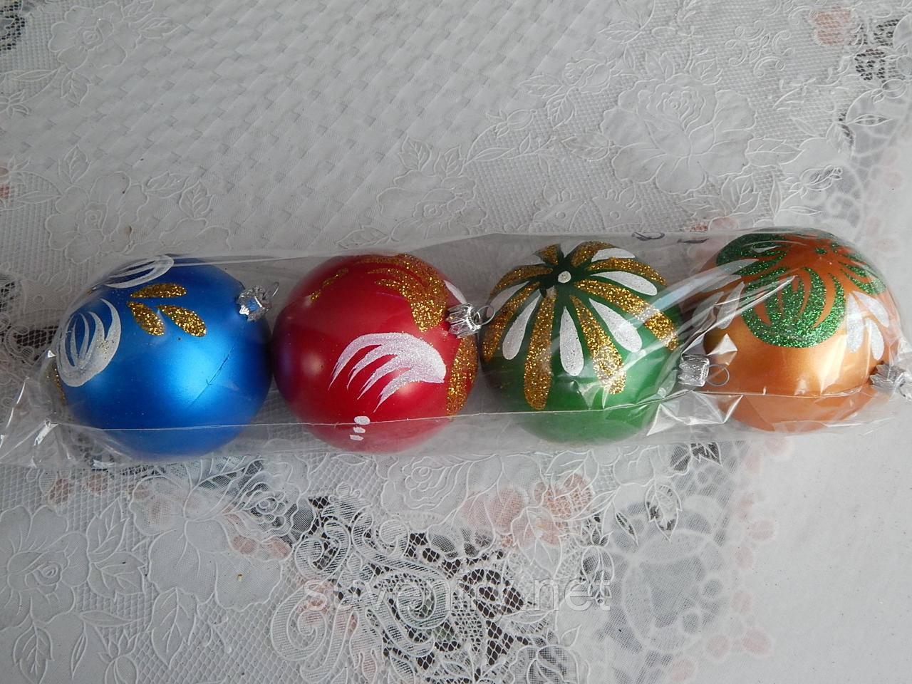 Новогодние шары на елку 8см разные цвета