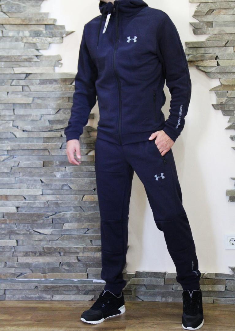3ba4a0b4 Спортивный мужской теплый костюм Under Armour Андер Армор с капюшоном темно-синий  (реплика)