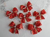 Новорічні банти на ялинку в блискітках червоного кольору, фото 1