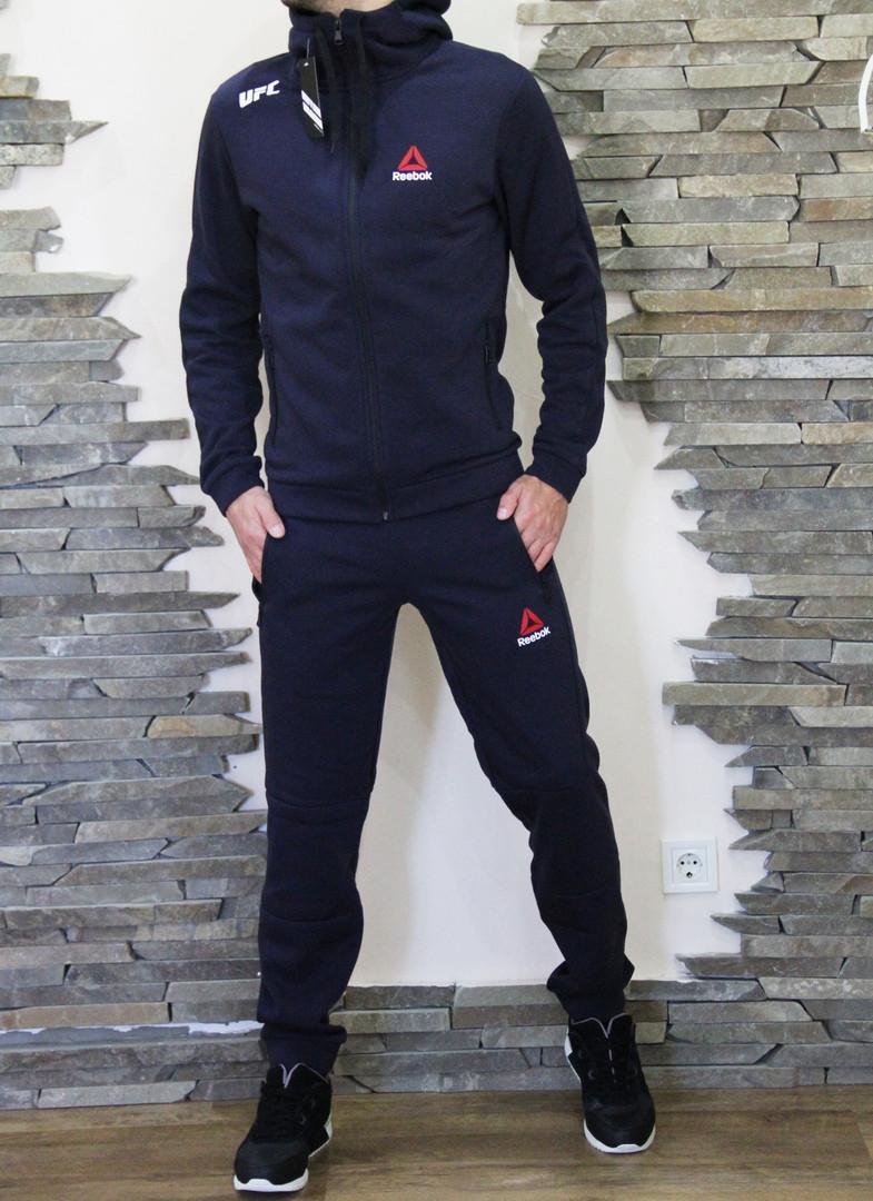 18add0f9d1ac Спортивный мужской теплый костюм Reebok UFC Рибок ЮФС с капюшоном  темно-синий ...