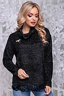 Красивый женский свитер из ангоры травка с кружевом 42-50 размера черный