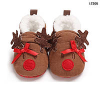 """Теплые пинетки-тапочки """"Олени"""" для малыша. 11, 12 см, фото 1"""