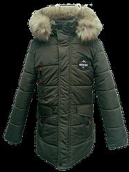Детская зимняя куртка парка на мальчика, хаки, р.34-44