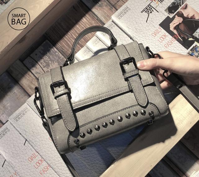 Женская кожаная сумочка мини | серая