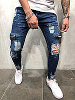 Мужские Качественные Джинсы темные с переходом цвета Skinny fit