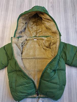 Куртка детская на мальчика зеленая  демисезонная на меху 2-5 лет, фото 2