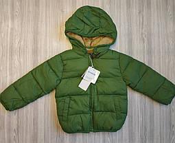Куртка детская на мальчика зеленая  демисезонная на меху 2-5 лет, фото 3