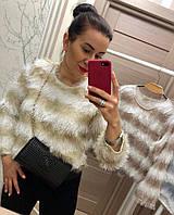 Полосатый свитер с длинным ворсом, фото 1