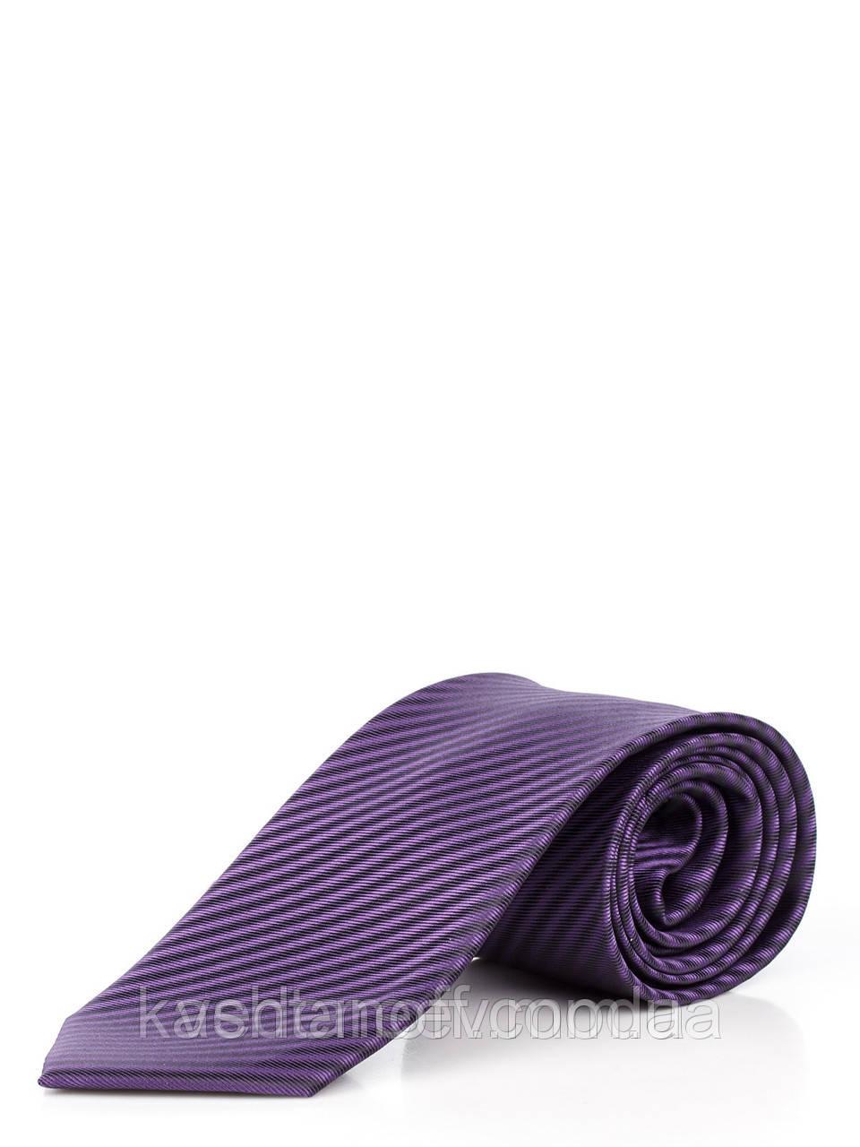 Краватка атласний, фіолетовий в діагональну чорну смужку