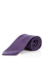 Галстук атласный, фиолетовый в диагональную черную полоску