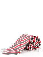 Галстук шелковый, серо-красный в широкую полоску