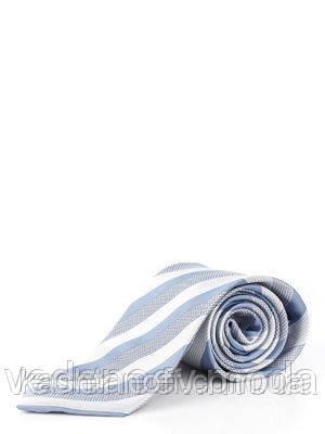Галстук серо-голубой в оригинальную полоску