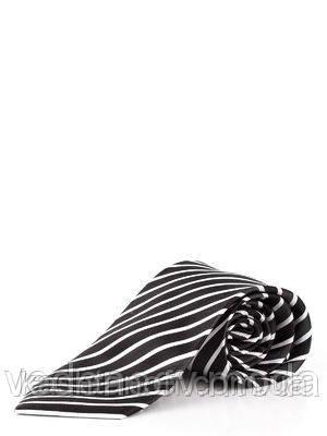 Галстук серо-черный в широкую полоску