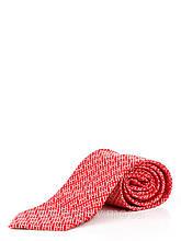 Галстук красный с абстрактным диагональным рисунком