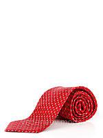 Галстук шелковый, красный с абстрактным геометриеским рисунком