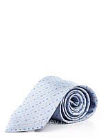 Голубой шелковый галстук в диагональные квадраты