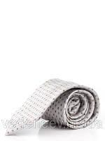 Серый галстук с диагональным коричневым рисунком