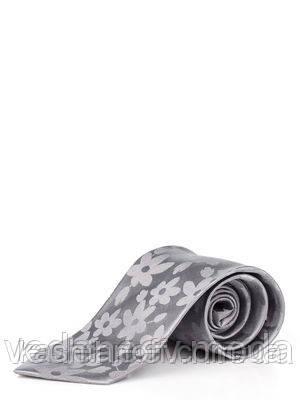 Галстук серый с цветочным принтом