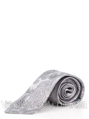 Галстук серый с абстрактным рисунком