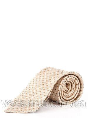 Бежевый галстук с серо-коричневым диагональным рисунком