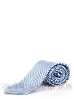 Галстук шелковый сине-голубой в узкую полоску